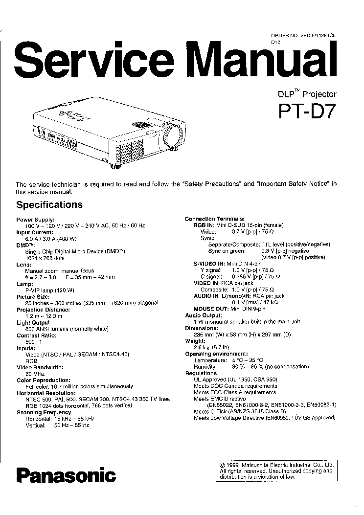 PANASONIC VIDEO MIXER WJ-AVE3 SM P2 Service Manual free