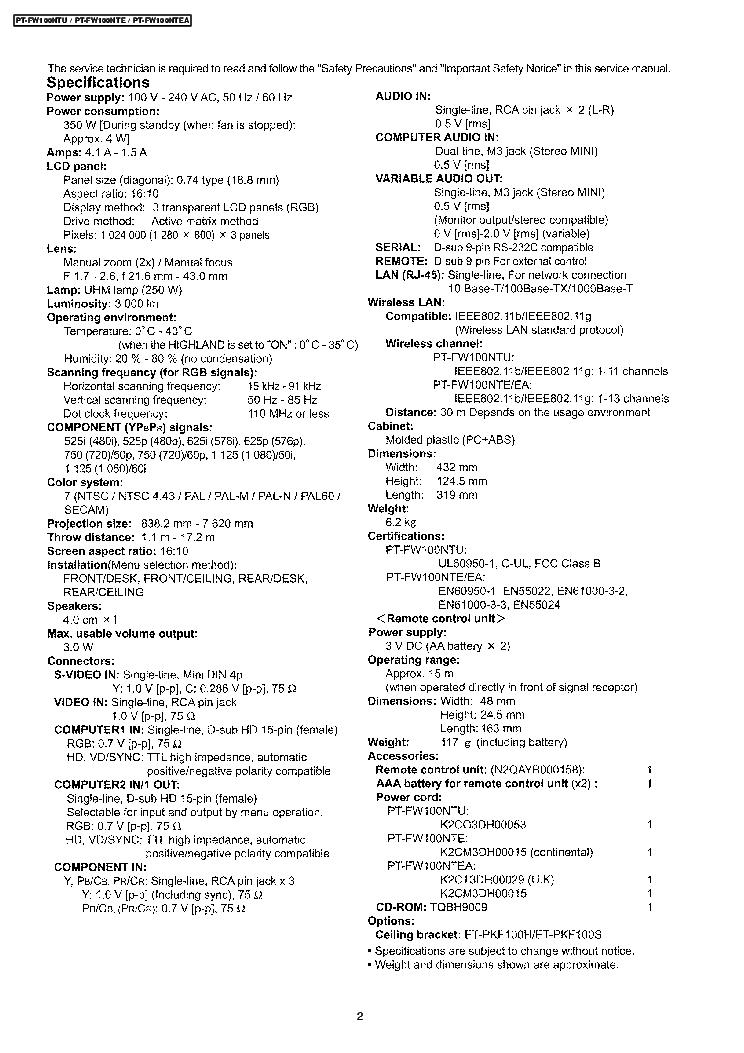 PANASONIC PT-FW100NTU FW100NTE FW100NTEA SM Service Manual