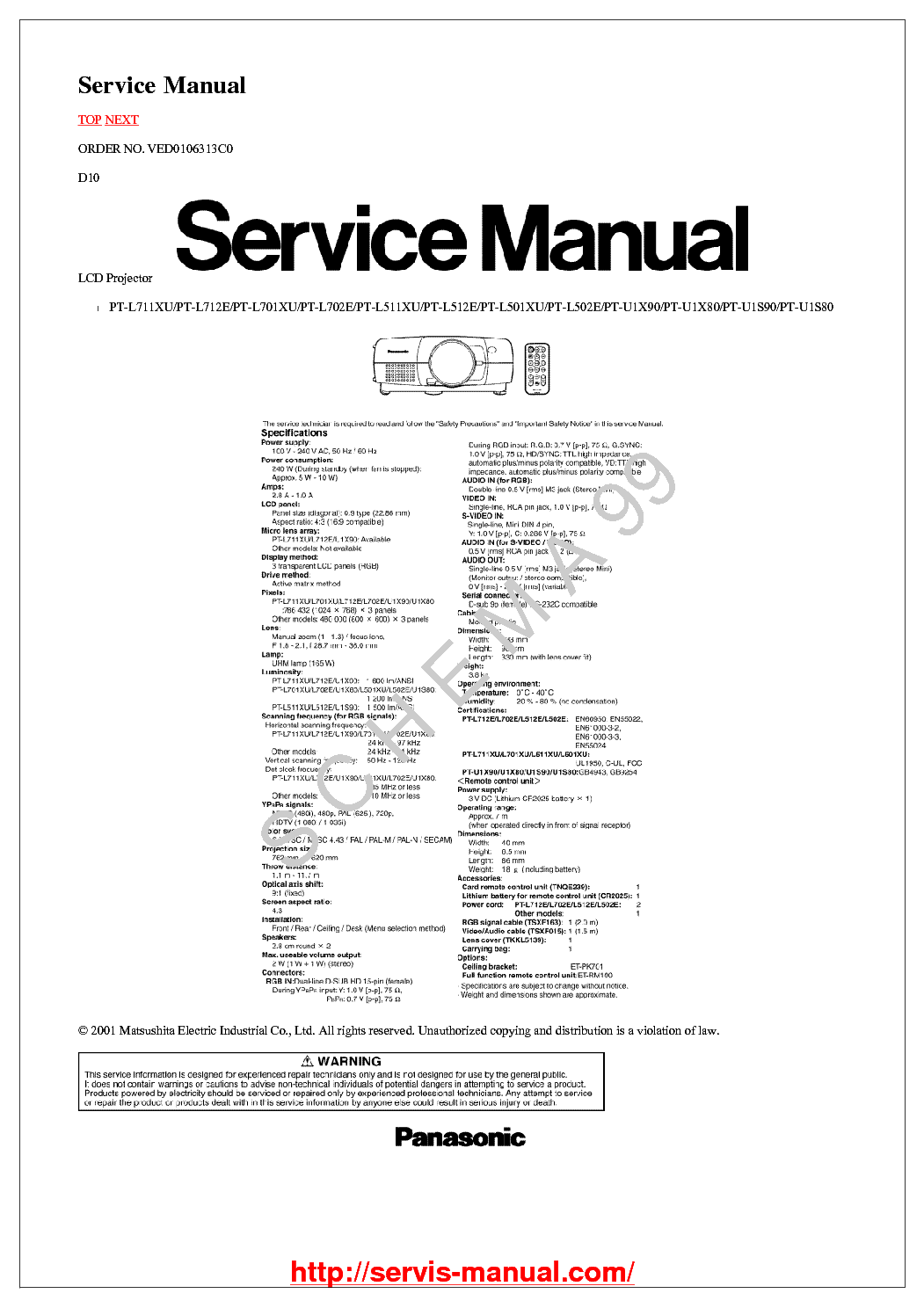 PANASONIC PT-L501-502-511-512-701-711-712 Service Manual