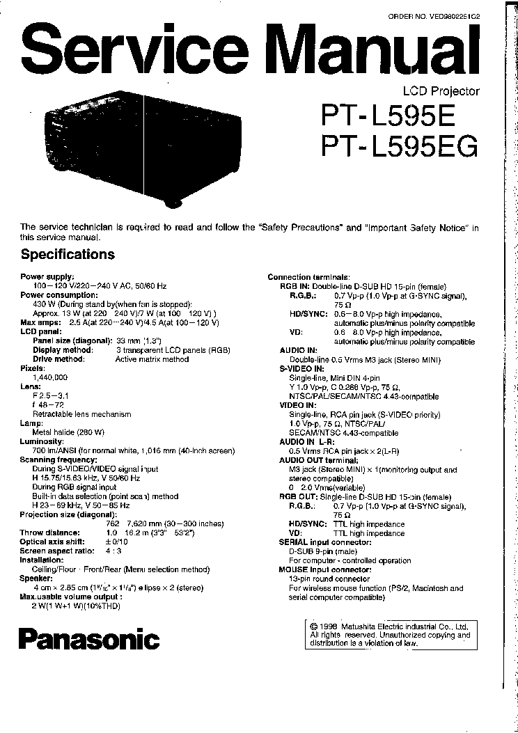 PANASONIC PT-L595E EG Service Manual download, schematics
