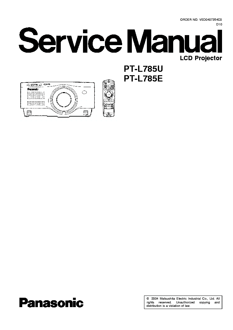 PANASONIC PT-L785U PT-L785E SM Service Manual download