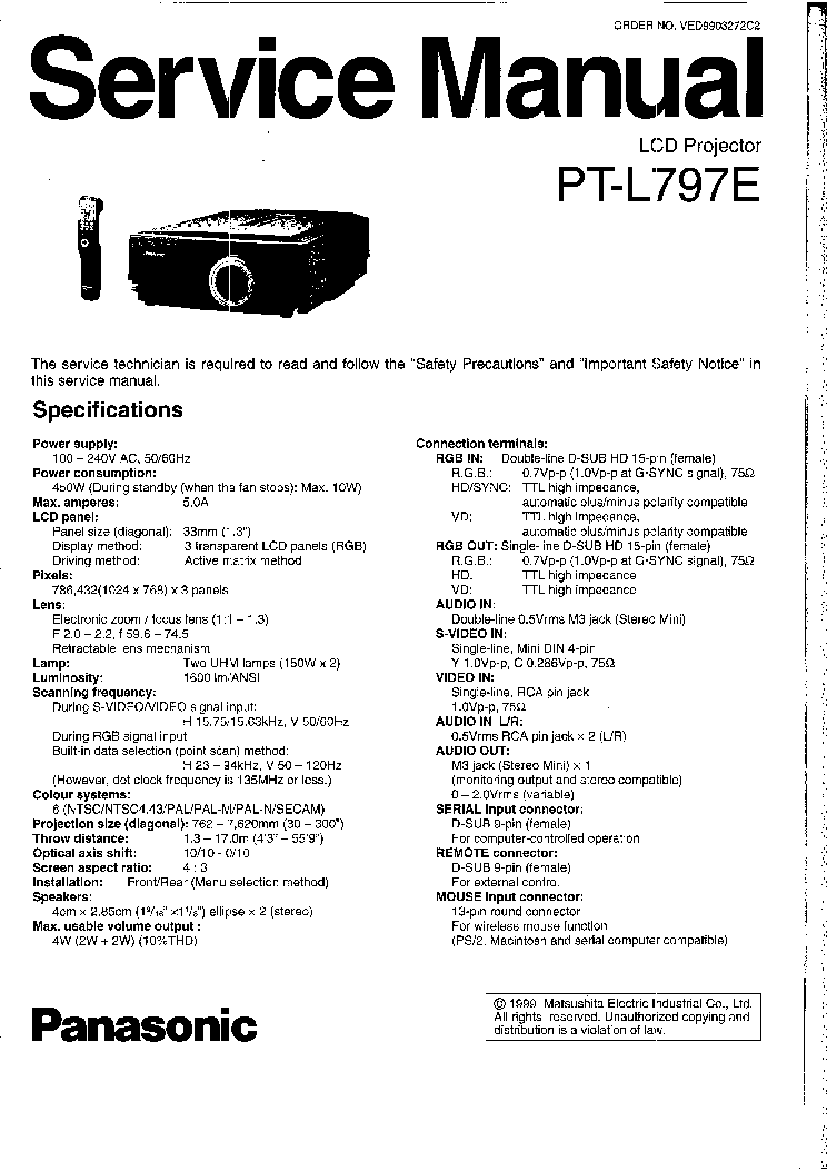 PANASONIC PT-L797E SM Service Manual download, schematics