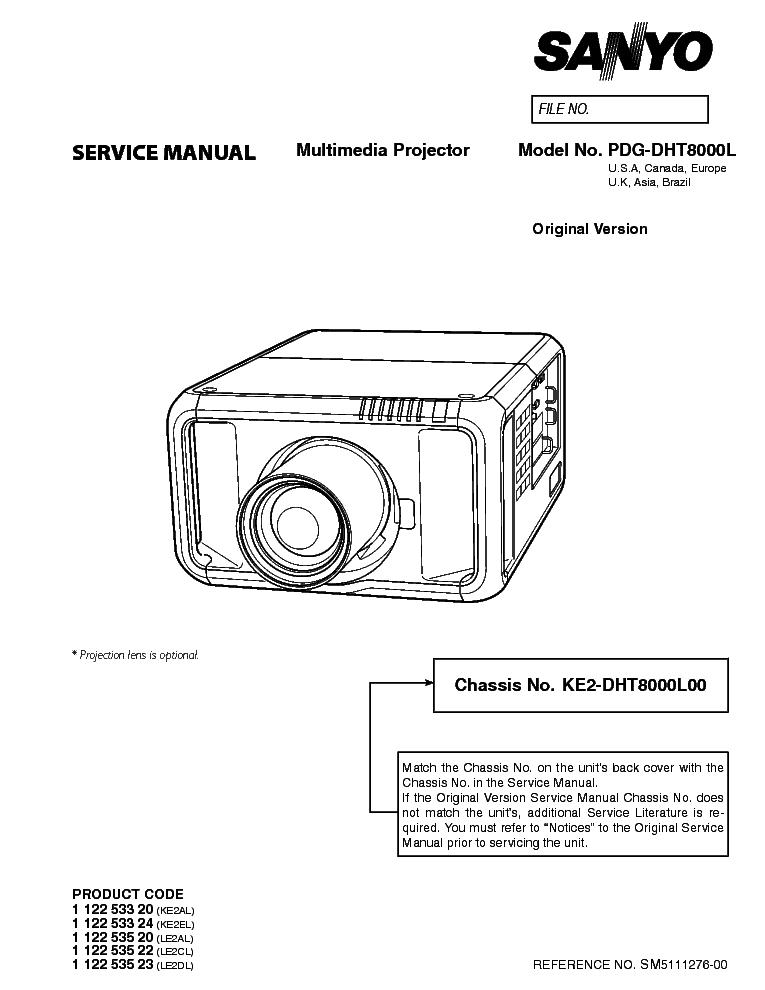 SANYO PDG-DHT8000L SM Service Manual download, schematics