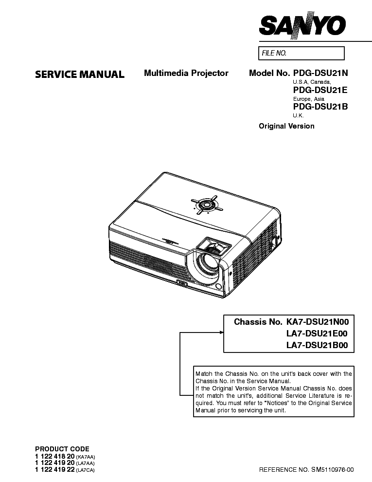 SANYO PDG-DSU21N DSU21E DSU21B SM Service Manual download