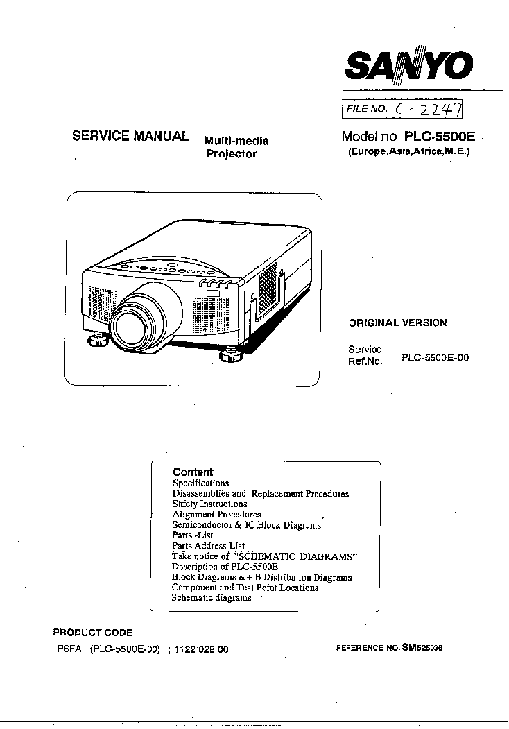 SANYO PLC-SE10 LCD-PROJECTOR Service Manual free download