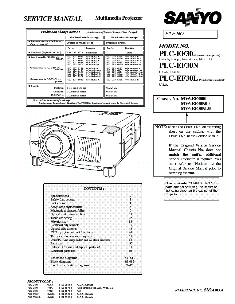 SANYO PLC-EF30 EF30N EF30L SM Service Manual download