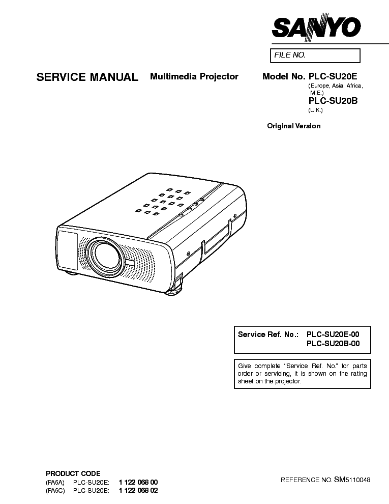 SANYO PLC-SU20B E Service Manual download, schematics