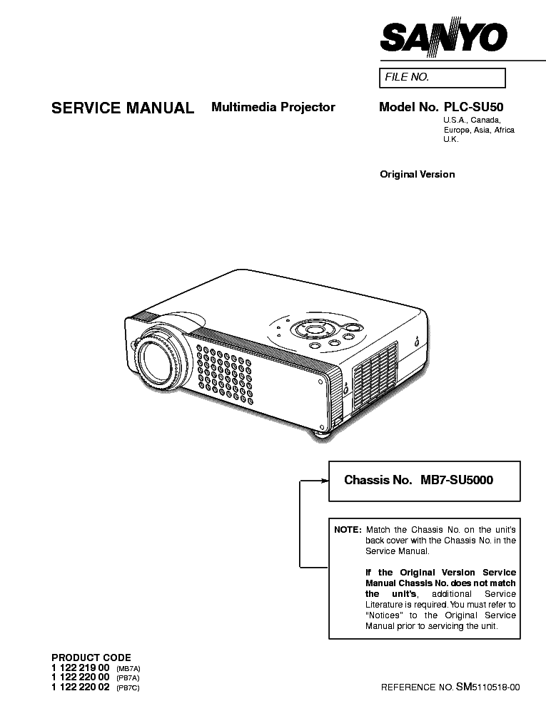 SANYO PLC-SU50 Service Manual download, schematics, eeprom