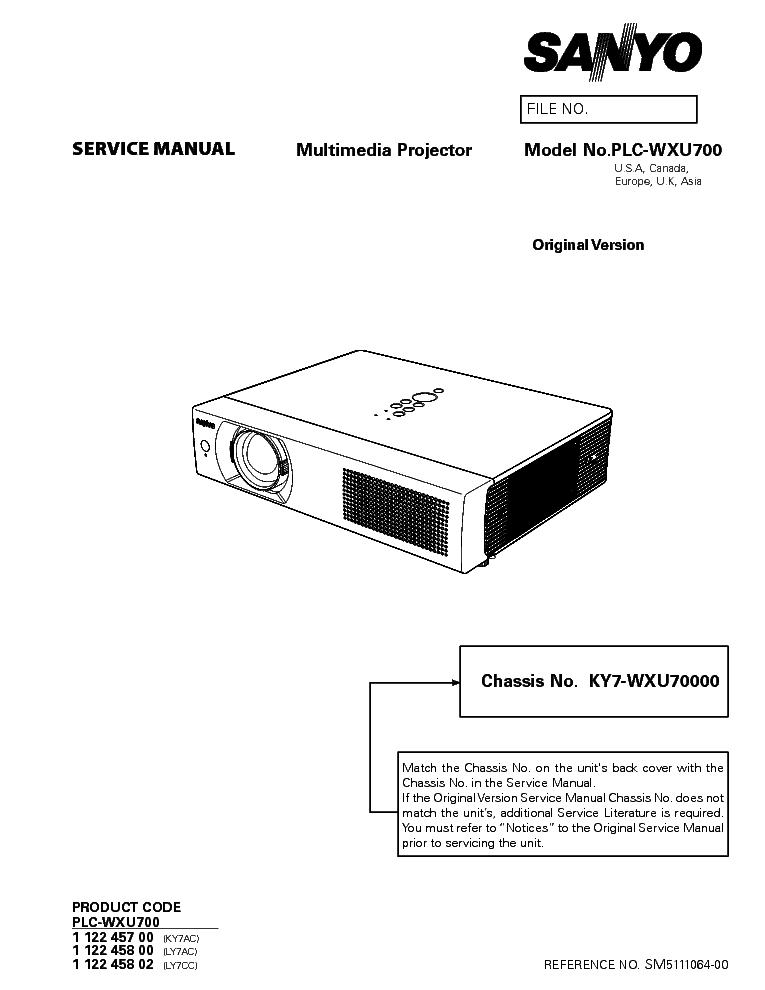 SANYO PLC-WXU700 SM Service Manual download, schematics