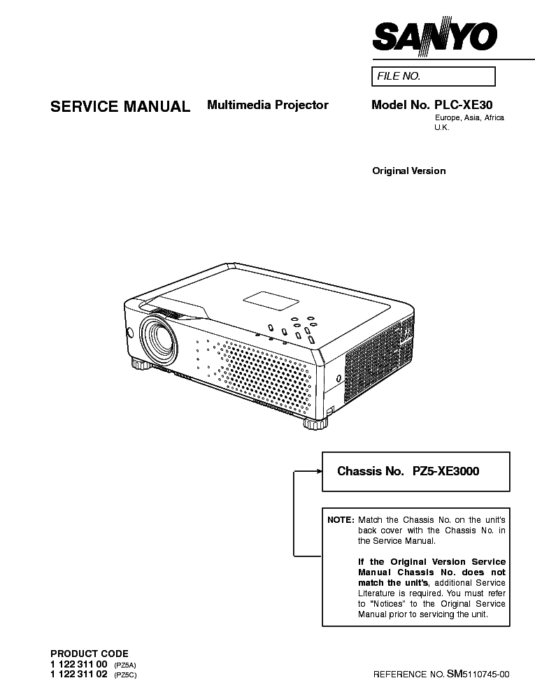 SANYO PLC-XE30 SM Service Manual download, schematics