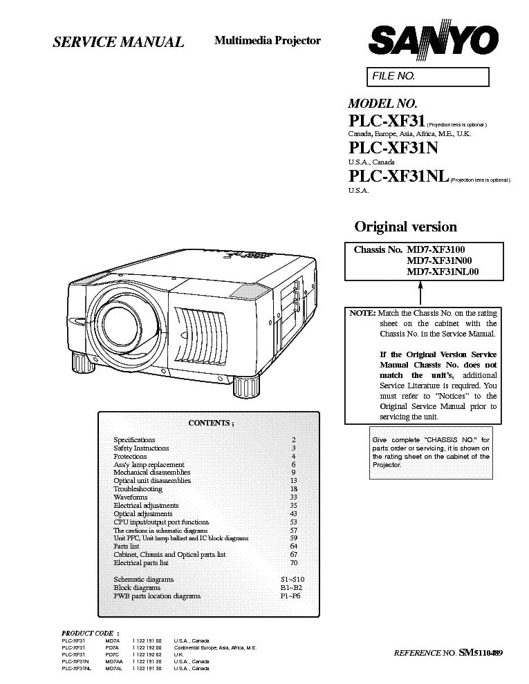SANYO PLC-XF31 XF31N XF31NL SM Service Manual download
