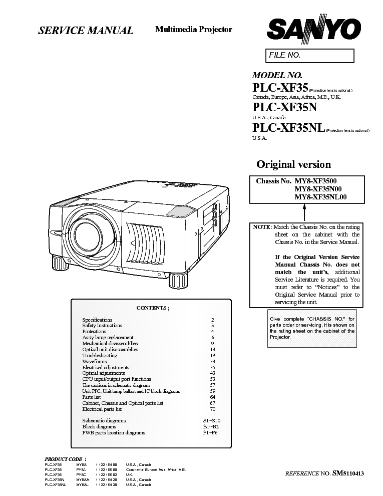 SANYO PLC-XF35 XF35N XF35NL SM Service Manual download