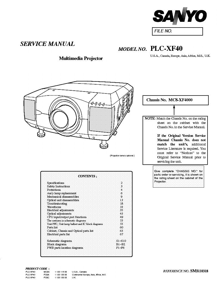 SANYO PLC-XF40 SM Service Manual download, schematics