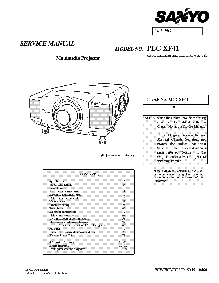 SANYO PLC-XF41 SM Service Manual download, schematics