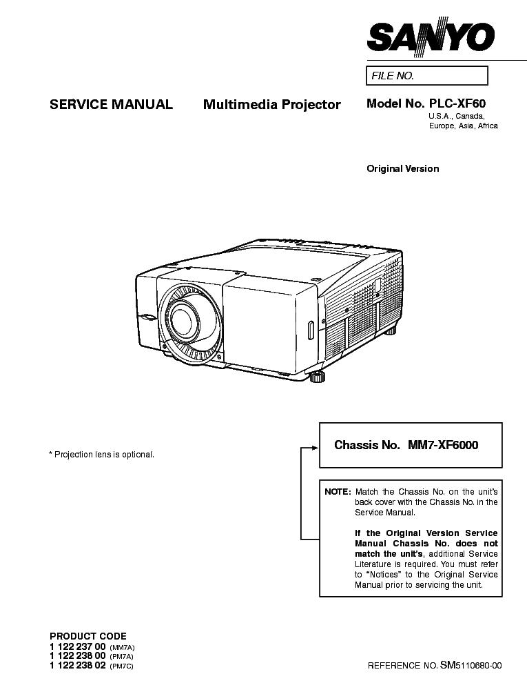 SANYO PLC-XF60 SM Service Manual download, schematics
