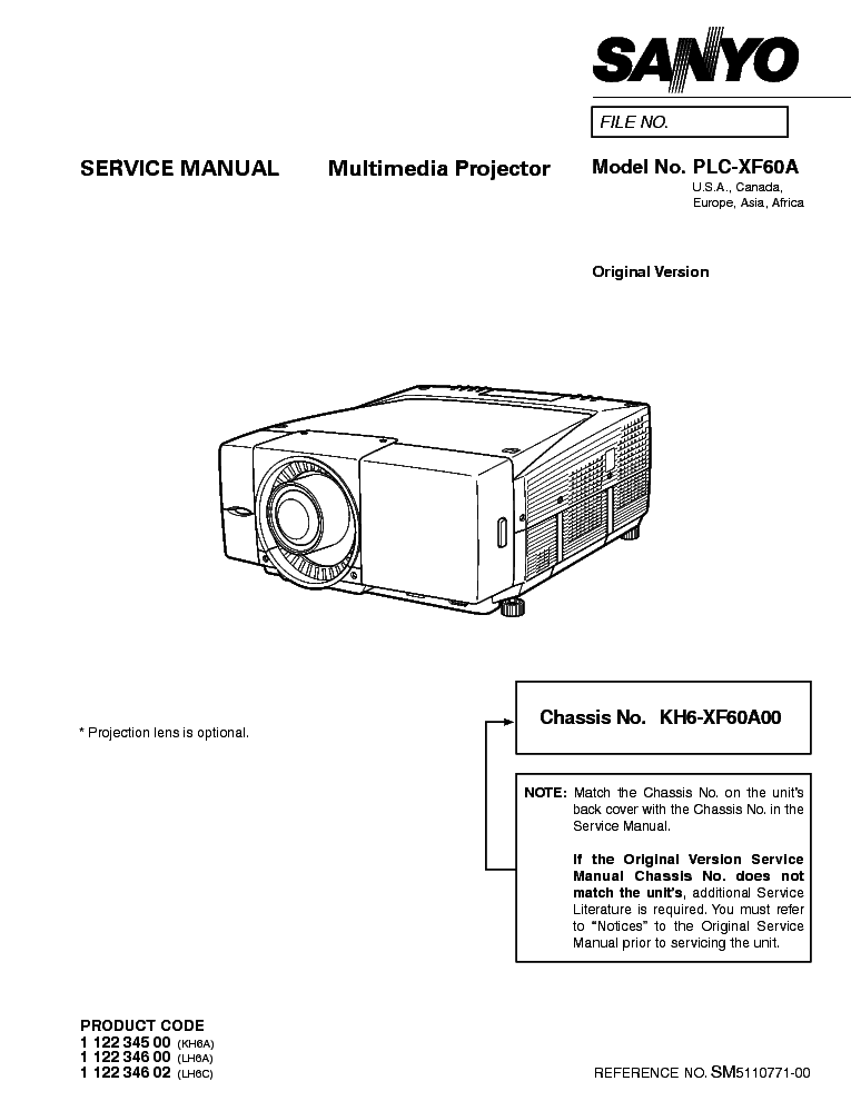 SANYO PLC-XF60A SM Service Manual download, schematics