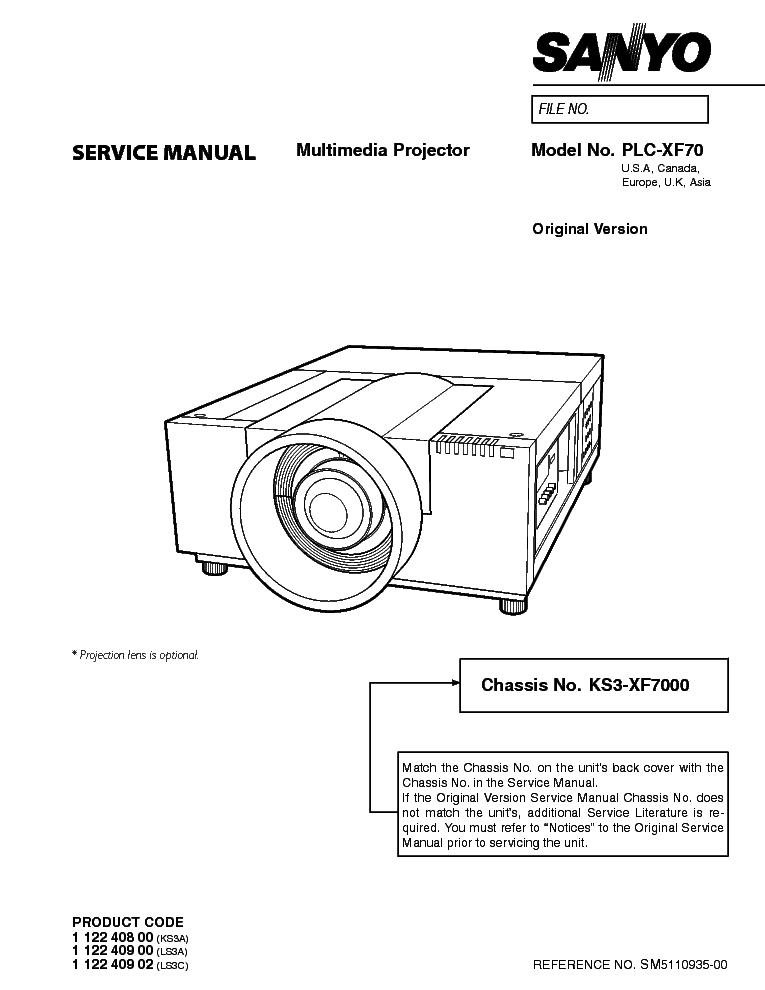 SANYO PLC-XF70 SM Service Manual download, schematics