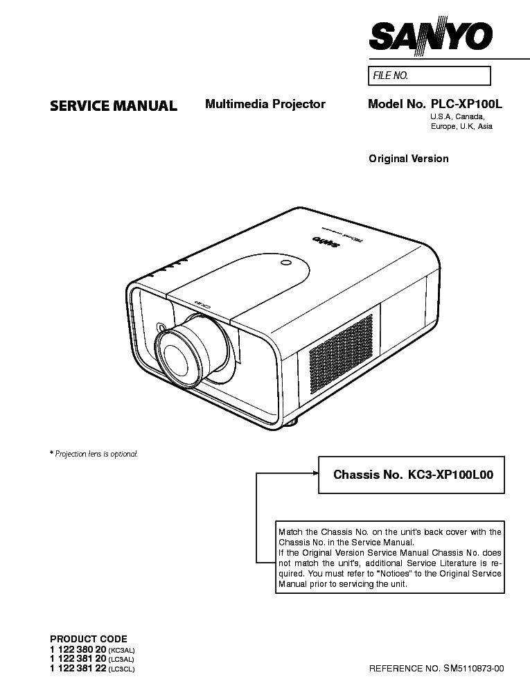SANYO PLC-XP100L Service Manual download, schematics