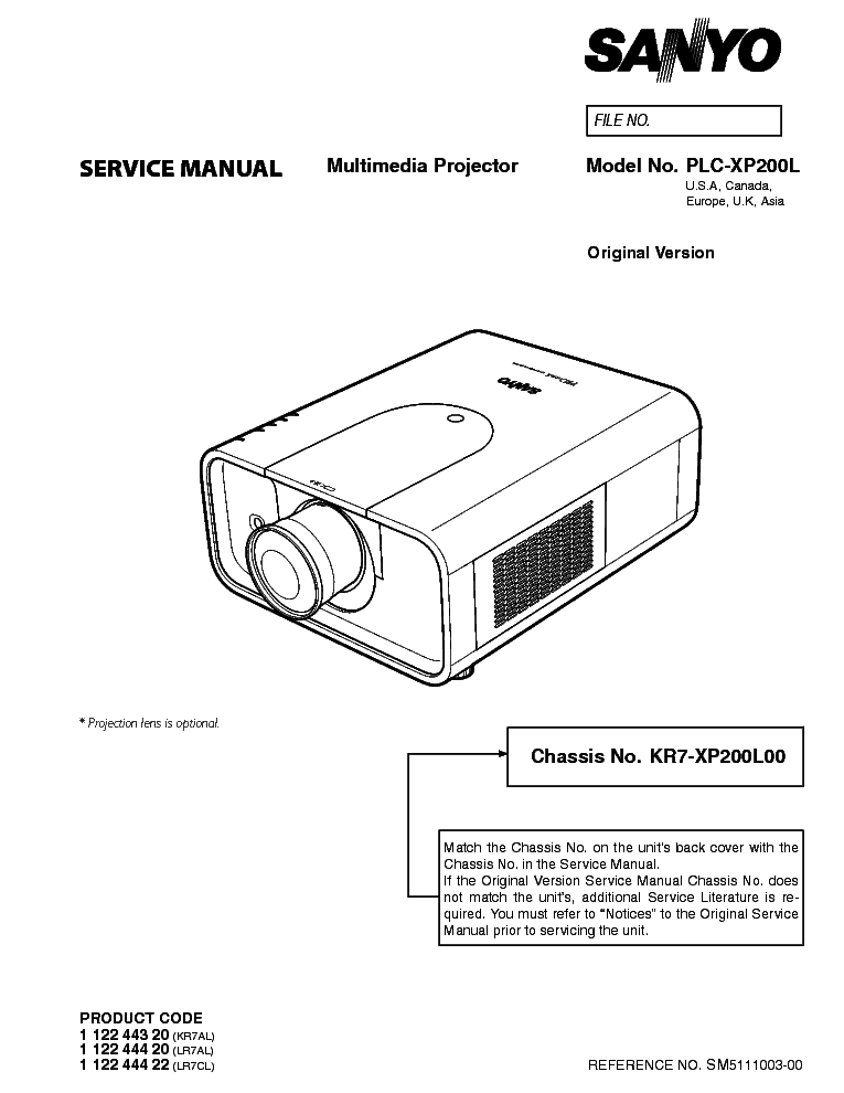 SANYO PLC-XP200L SM Service Manual download, schematics