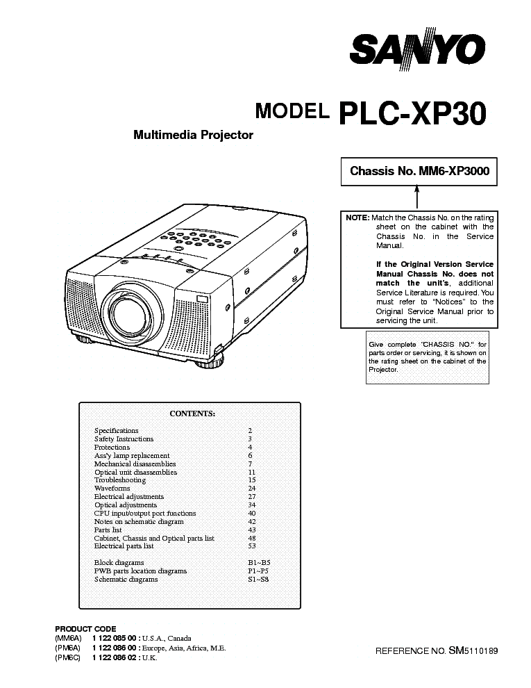 SANYO PLC-XP30 Service Manual download, schematics, eeprom