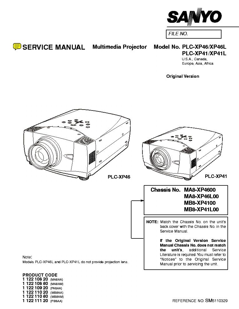 SANYO PLC-XP41 L XP46 L Service Manual download, schematics, eeprom, repair info for electronics