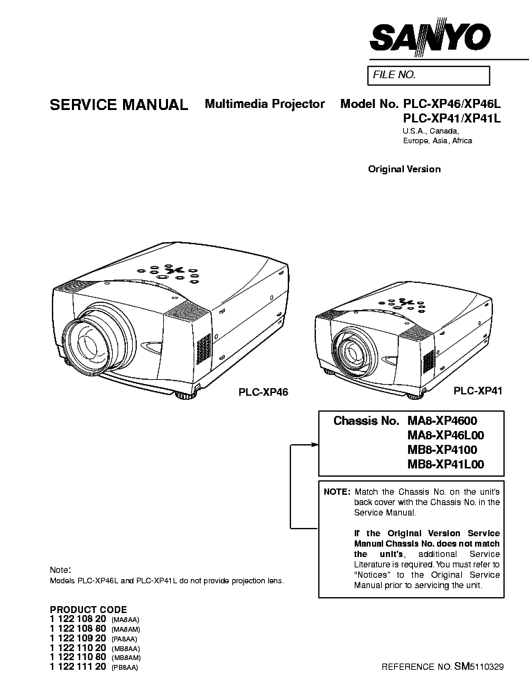 SANYO PLC-XP41 XP46 SM Service Manual download, schematics