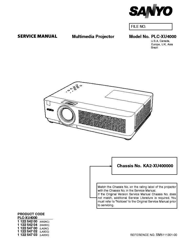 SANYO PLC-XU4000 SM Service Manual download, schematics