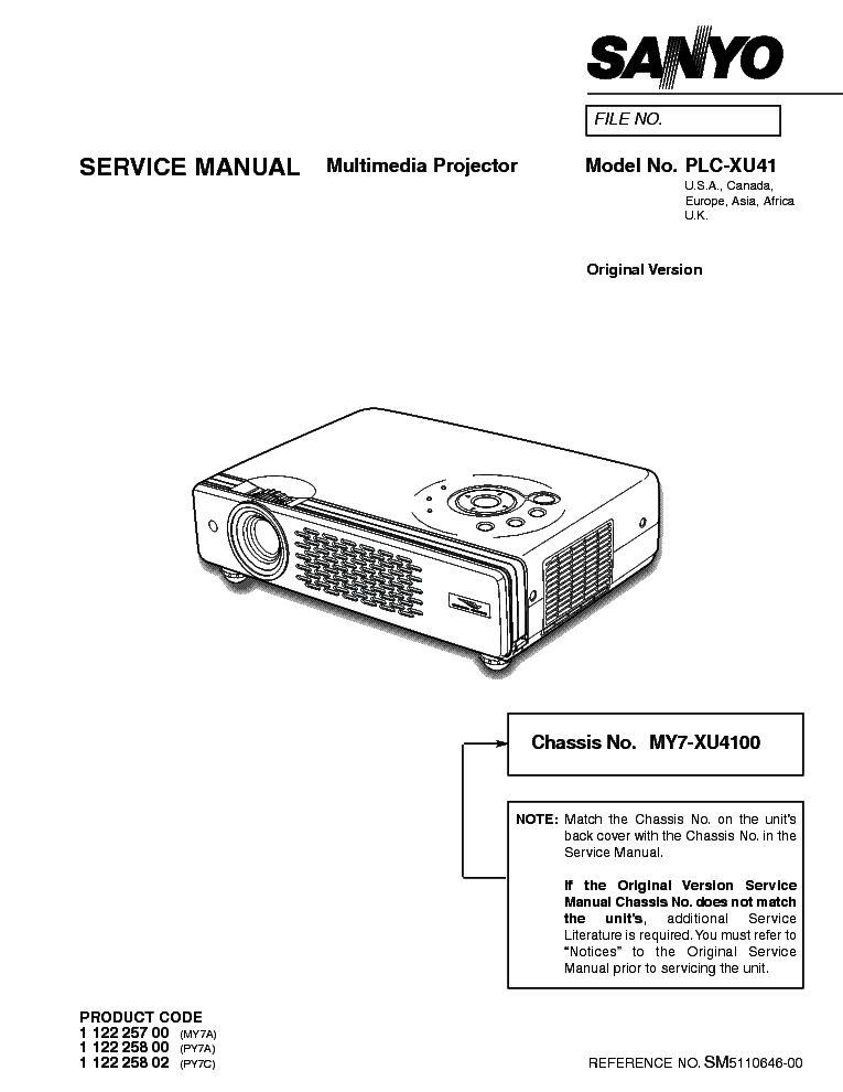 SANYO PLC-XU41 SM Service Manual download, schematics