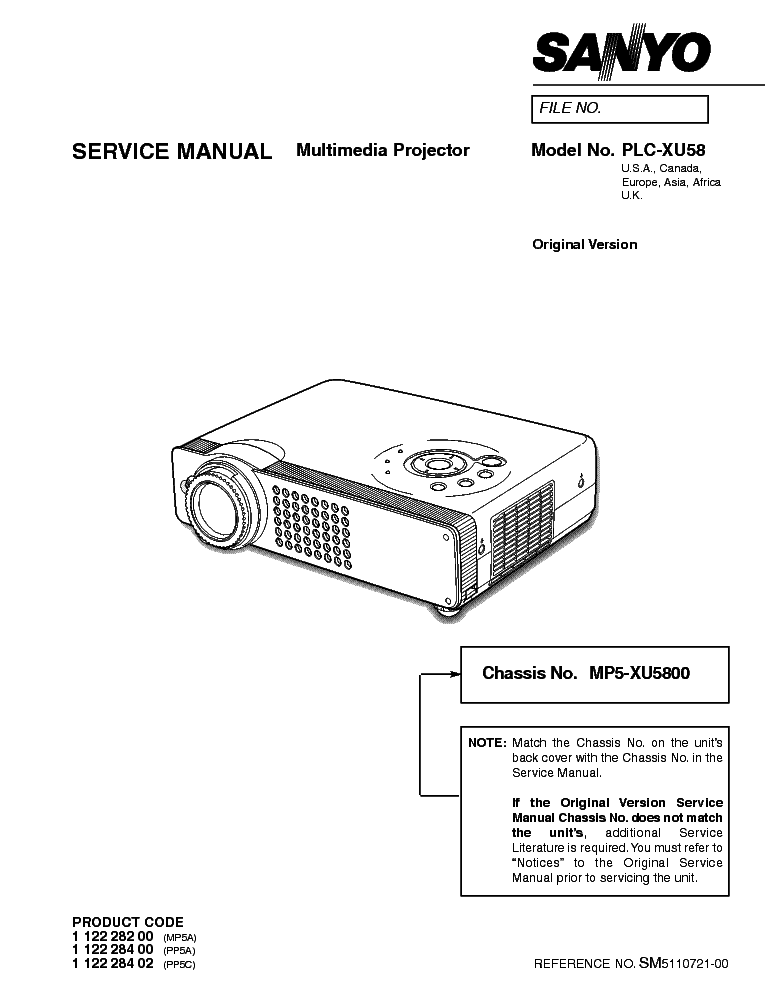 SANYO PLC-XP56 XP56L Service Manual free download