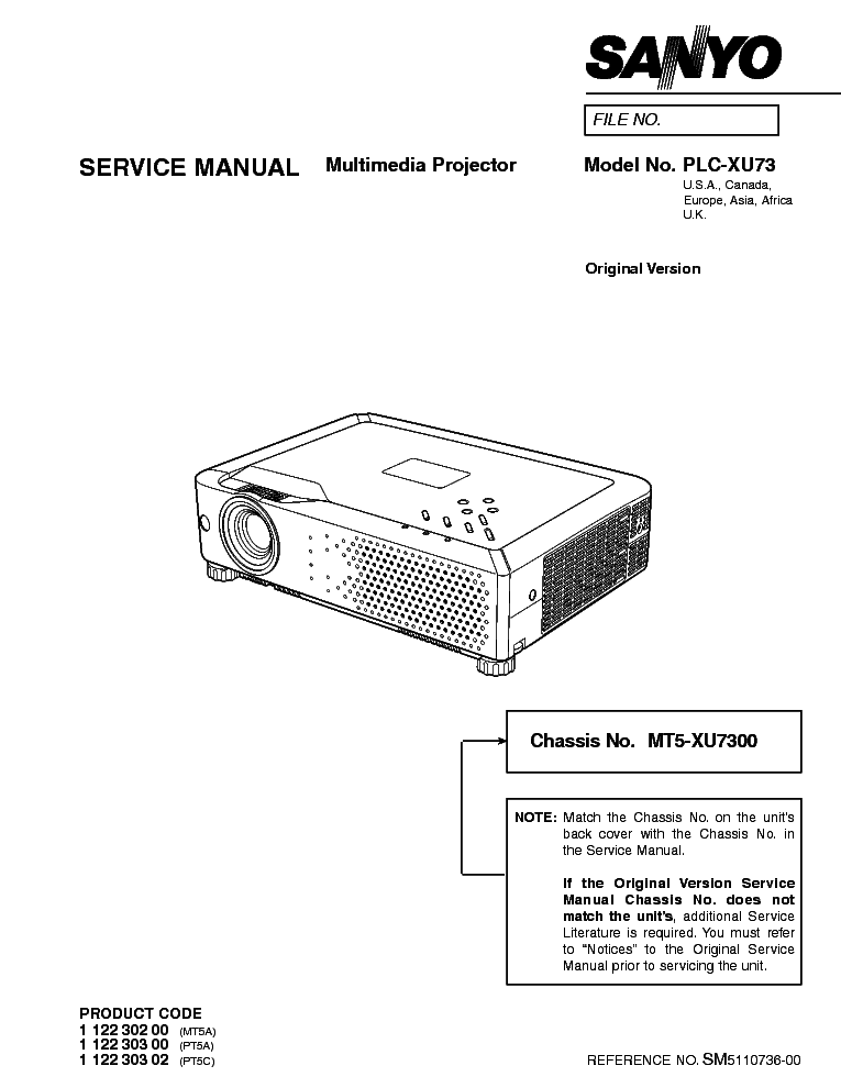 SANYO PLC-XU73 Service Manual download, schematics, eeprom