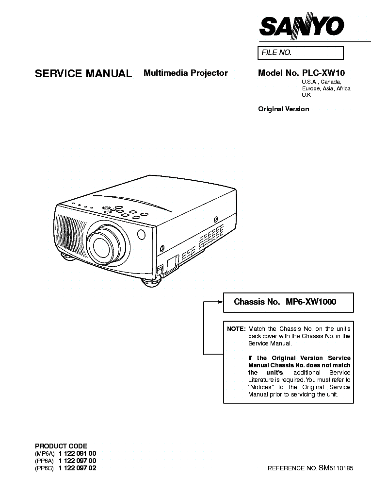 SANYO PLC-XW10 SM Service Manual download, schematics