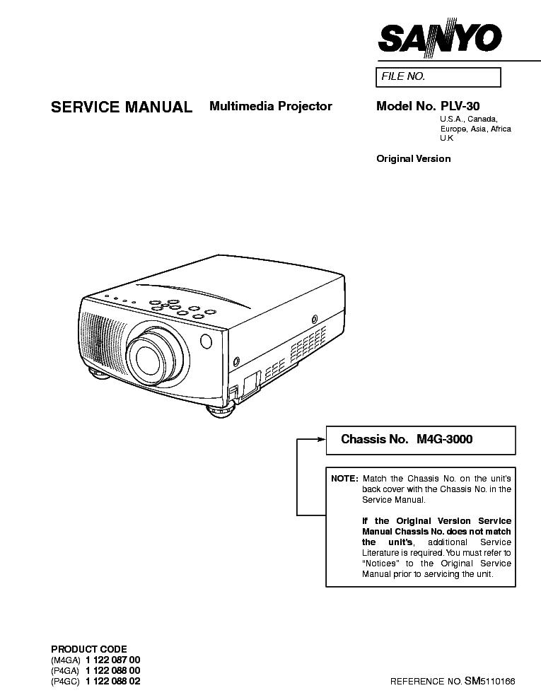SANYO PLC-XP57L CHASSIS KE6-XP57L00 SM Service Manual