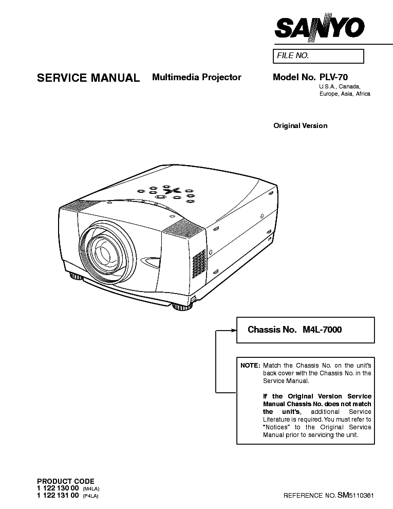 SANYO PLV-70 Service Manual download, schematics, eeprom