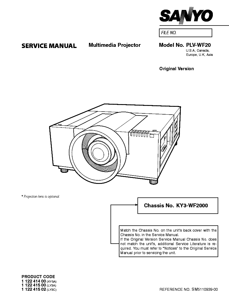 SANYO PLC-XF46 SM Service Manual download, schematics