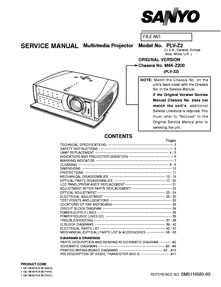 SANYO PLV-Z2 Service Manual download, schematics, eeprom
