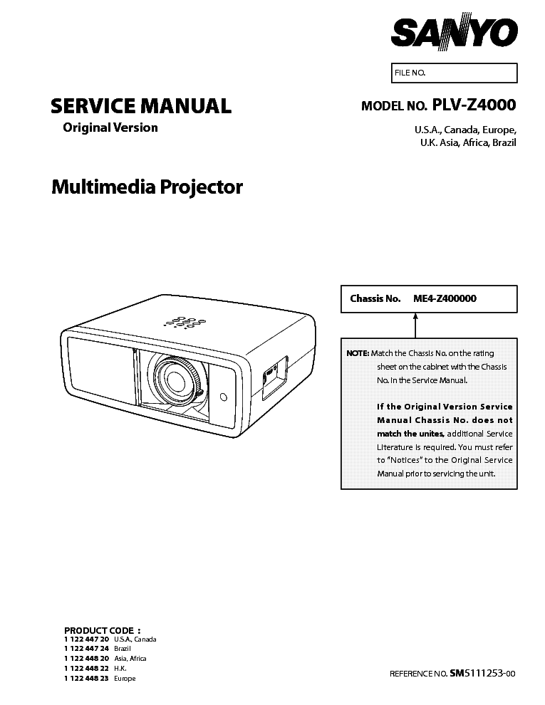 SANYO PLV-Z4000 Service Manual download, schematics