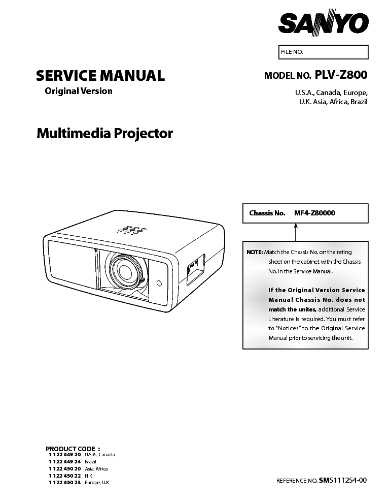SANYO PLV-Z800 SM Service Manual download, schematics