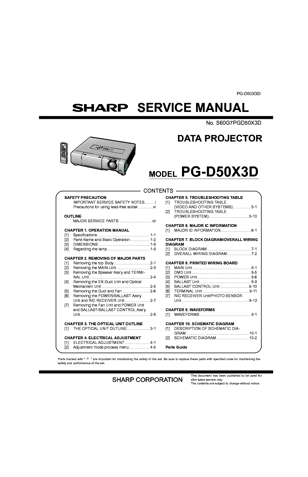 SHARP PG-D50X3D Service Manual download, schematics
