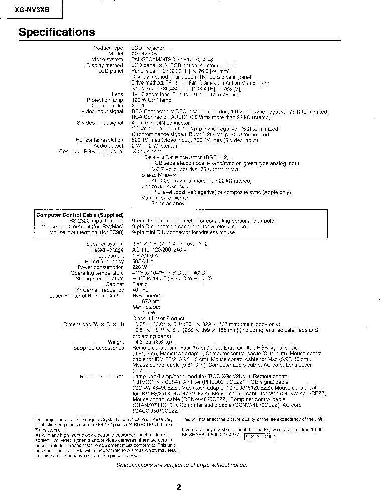 SHARP XG-NV3XB Service Manual download, schematics, eeprom