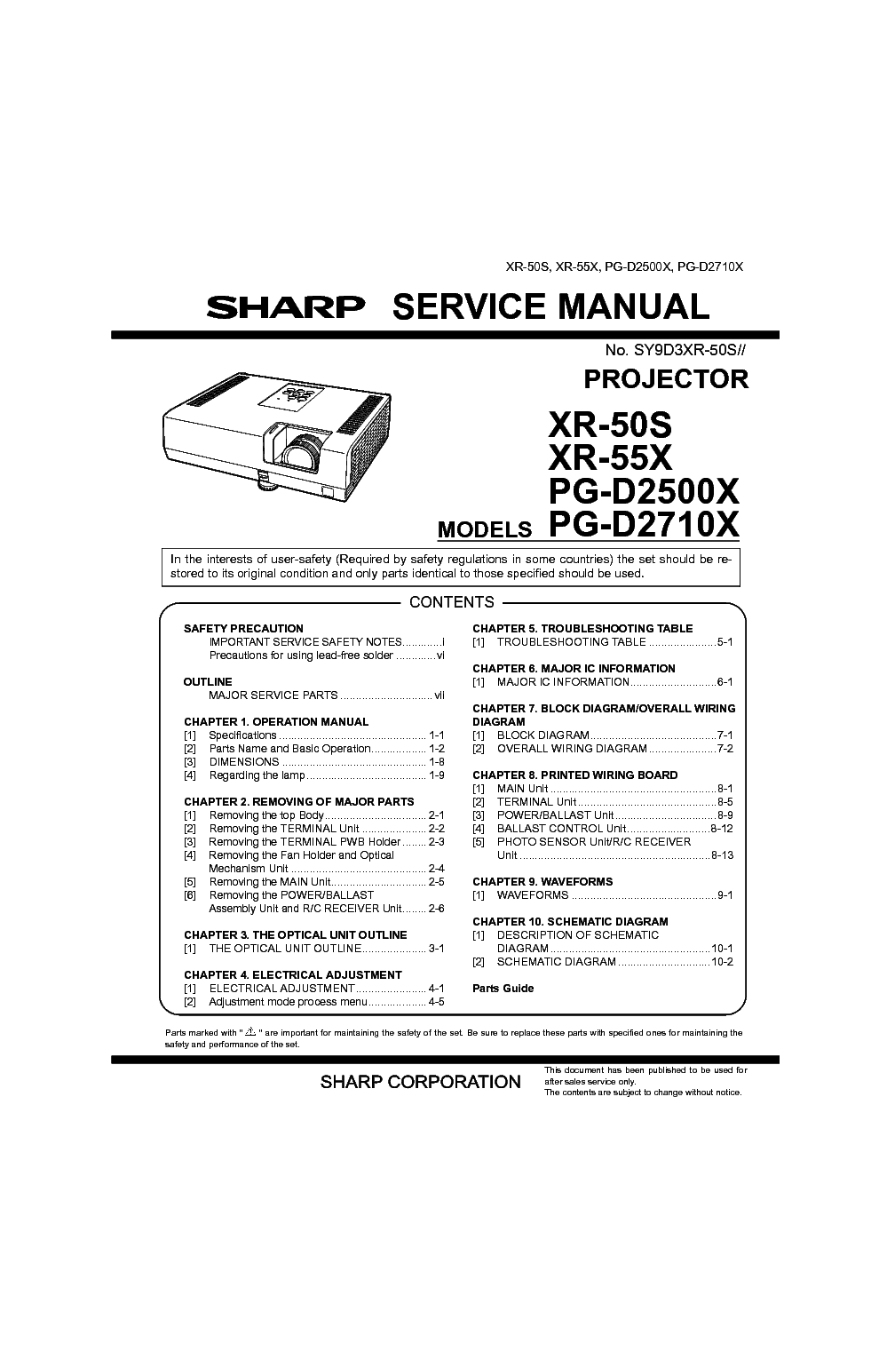 SHARP XV-C1E Service Manual free download, schematics