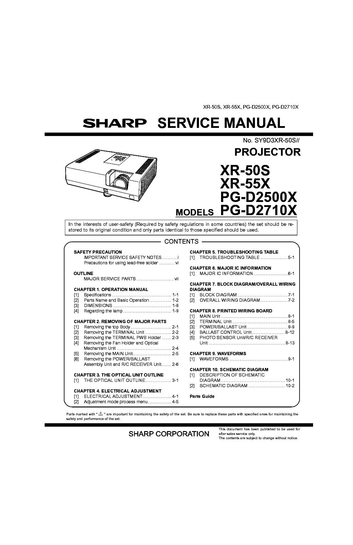 SHARP XR-50S 55X PG-D2500X D2710X Service Manual download