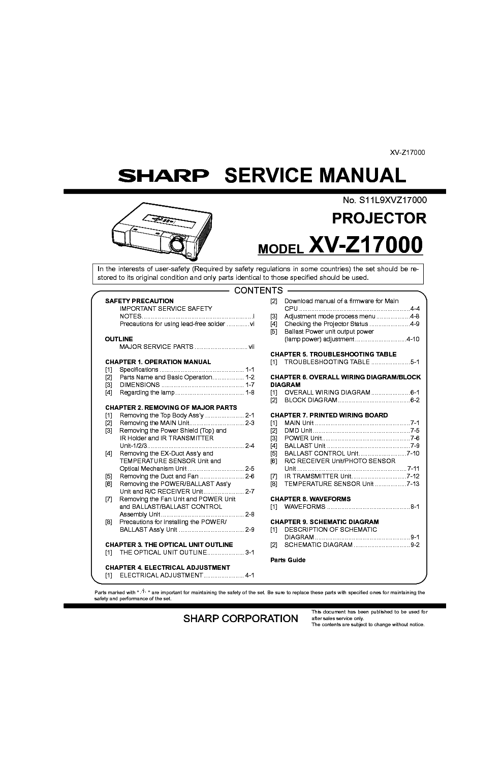 SHARP XV-Z17000 Service Manual download, schematics