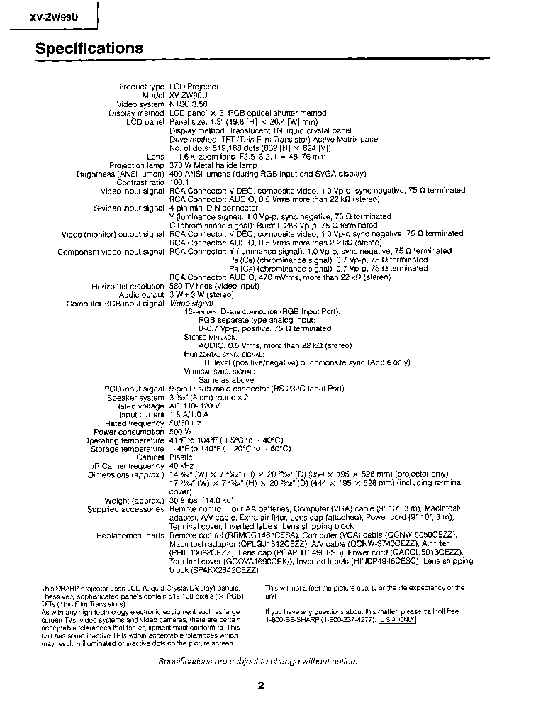 SHARP XV-ZW99U Service Manual download, schematics, eeprom