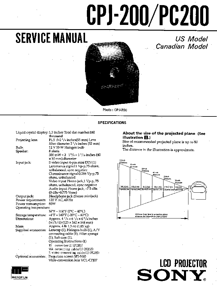 SONY CPJ-200 PC200 SM Service Manual download, schematics