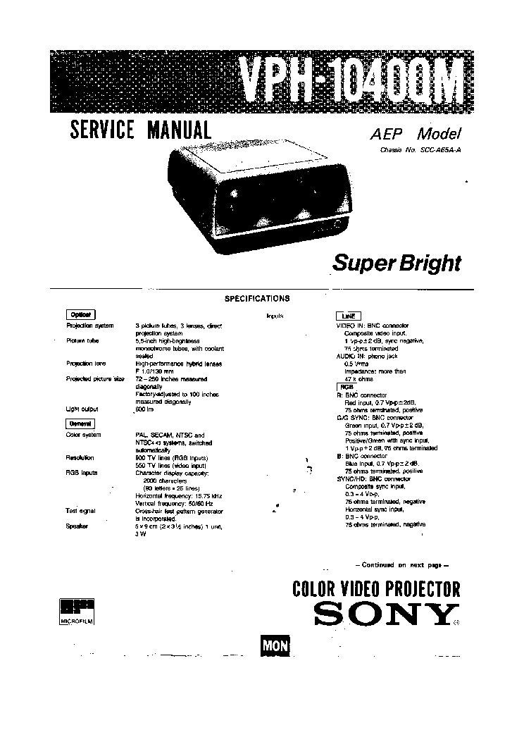 SONY VPH-1040QM Service Manual download, schematics