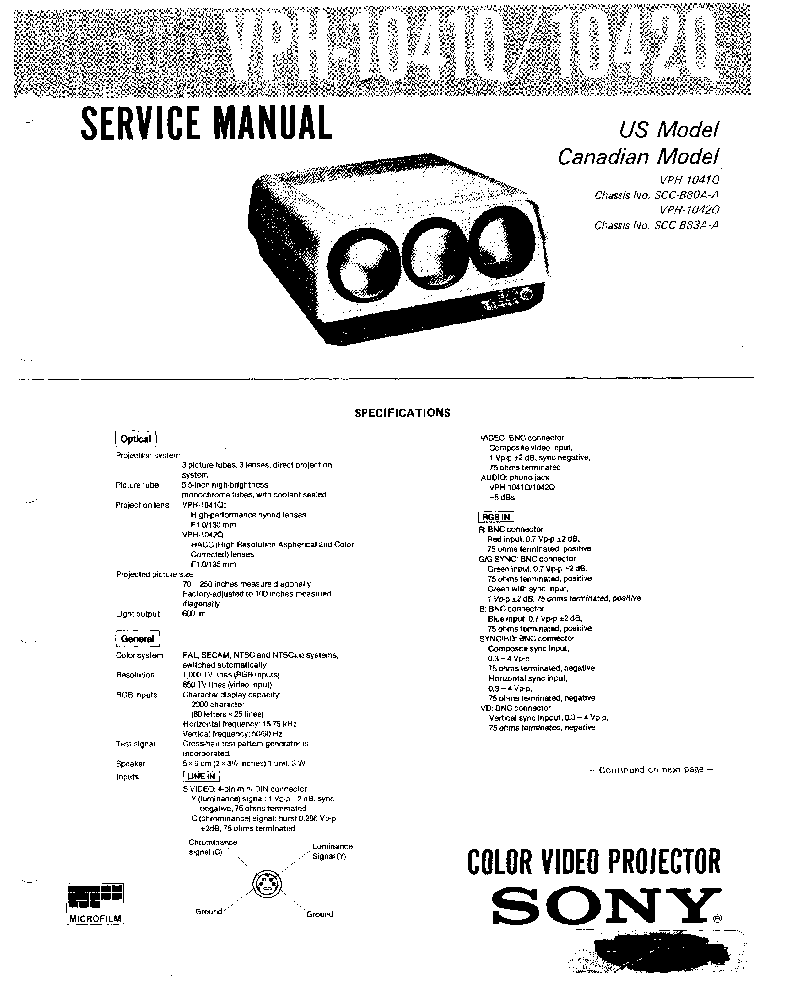 SONY VPH-1041Q VPH-1042Q SM Service Manual download