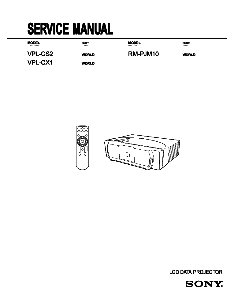 SONY VPL-CS2 CX1 Service Manual download, schematics