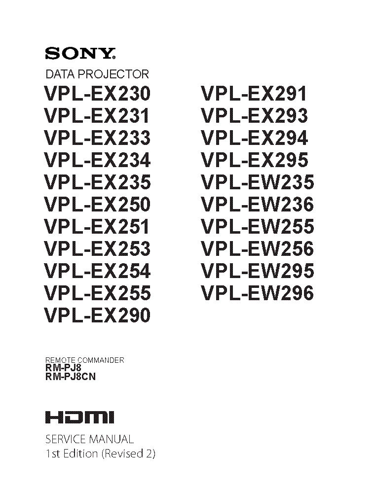 SONY VPL-CX86 RM-PJP1 RM-PJM17 Service Manual download