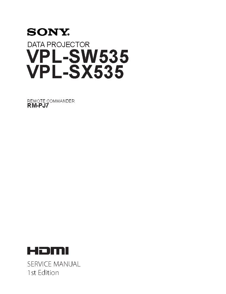 SONY VPL-SW535 VPL-SX535 1ST-EDITION SM Service Manual