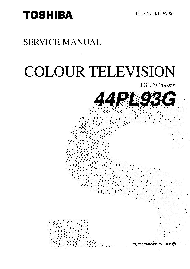 TOSHIBA 44PL93G SM Service Manual download, schematics